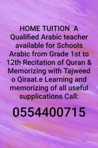 looking for Arabic part-time home tuition